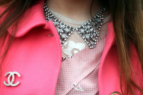 chanel 2012 paris fashion week street style jeffrey campbell coral asos coat chanel accessories trends rhinestone collar peter pan dior nailpolish pink lace bow premium aKOMXPO